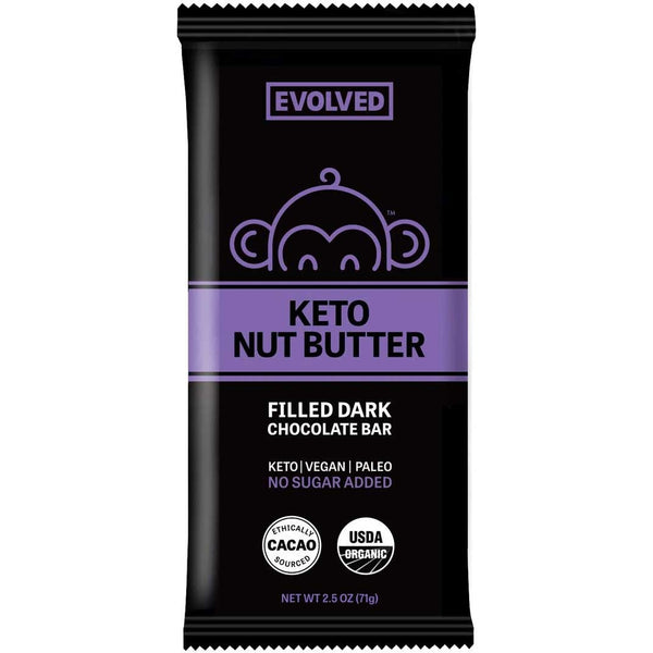 Evolved Chocolate, Keto Nut Butter Filled Dark Chocolate Bar 2.5oz (Chill)