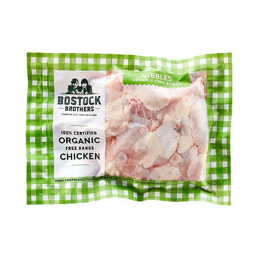 BOSTOCK BROTHERS, Organic Free-Range Chicken Nibbles Mid-Wings 600g (Frozen)
