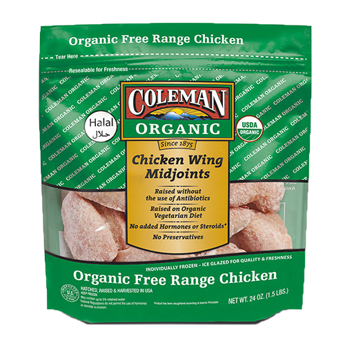 Coleman, Organic Chicken Wings Mid Joint 1.5 lb (Frozen)