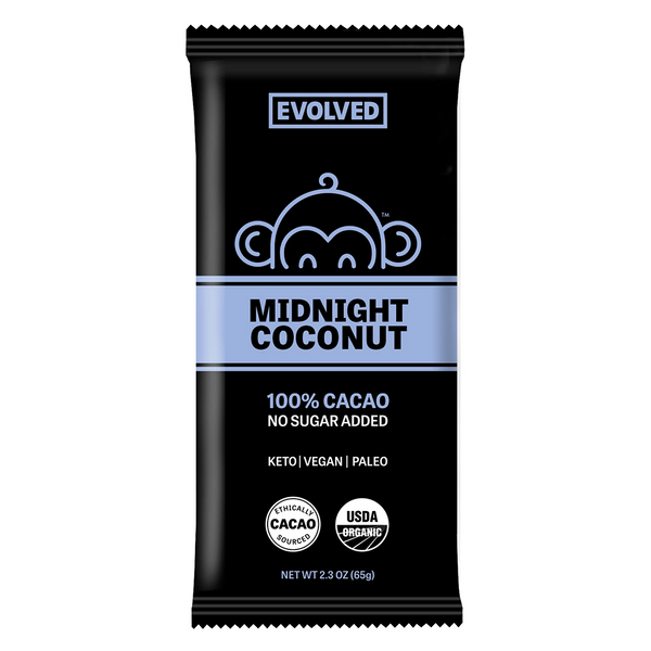 Evolved Chocolate, Keto Midnight Coconut 100% Cacao Bar 2.3oz (Chill)
