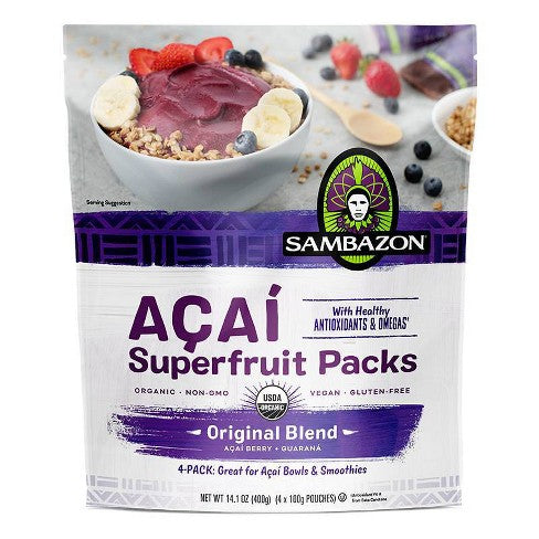 Sambazon, Acai Original Blend Superfruit Frozen Smoothie Packs 14 oz (Frozen)