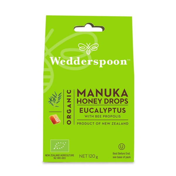 Wedderspoon, Organic Manuka Honey Drops with Eucalyptus 4 oz