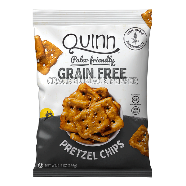 QUINN, Grain Free Cracked Black Pepper Pretzel Chips 5.5oz