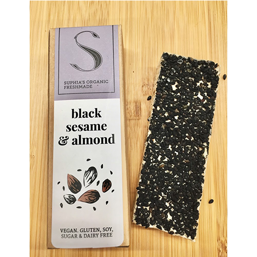 SUPHIA'S, Black Sesame Almond Bar 45-50g x *4 Bars* (Next Day Delivery available Now)