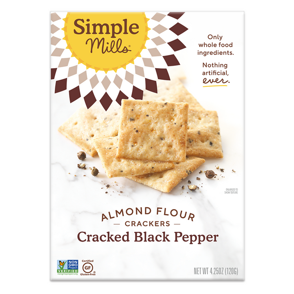 Simple Mills, Cracked Black Pepper Almond Flour Cracker, 4.25oz 'best by 24th Jan'