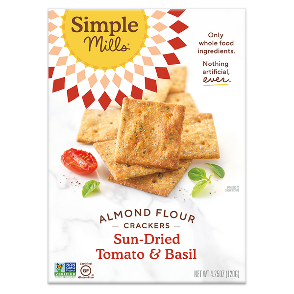 Simple Mills, Sun-dried Tomato & Basil Almond Flour Cracker, 4.25oz
