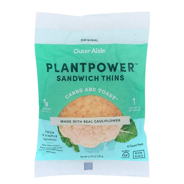 Outer Aisle, Cauliflower Sandwich Thins Original 6.75oz (Frozen)