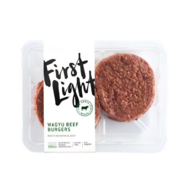 First Light, Grass-Fed Wagyu Beef Burgers 4 Patties 400g (Frozen)