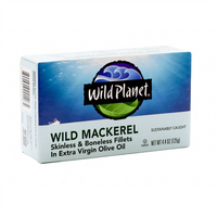 Wild Planet, Skinless and Boneless Fillets Wild Mackerel In Extra Virgin Olive Oil 4.4oz