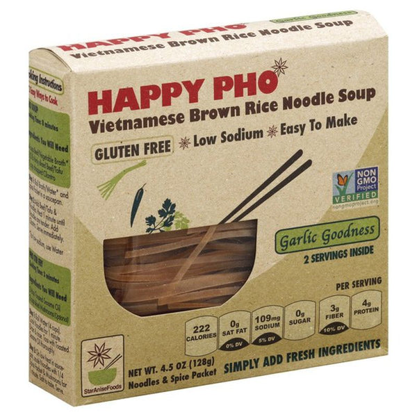 Star Anise Foods, Happy Pho Vietnamese Brown Rice Noodle Soup Garlic Goodness 4.5 oz