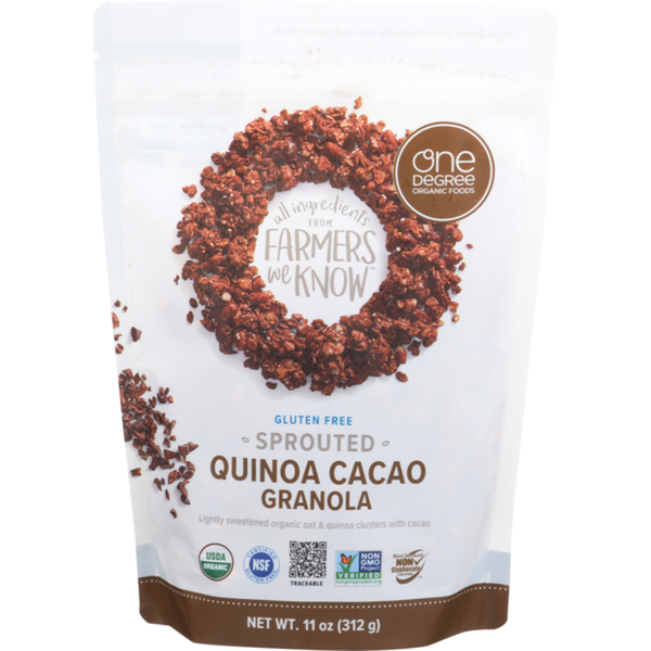 One Degree, Organic Gluten Free Sprouted Oat Granola Quinoa Cacao 11 oz