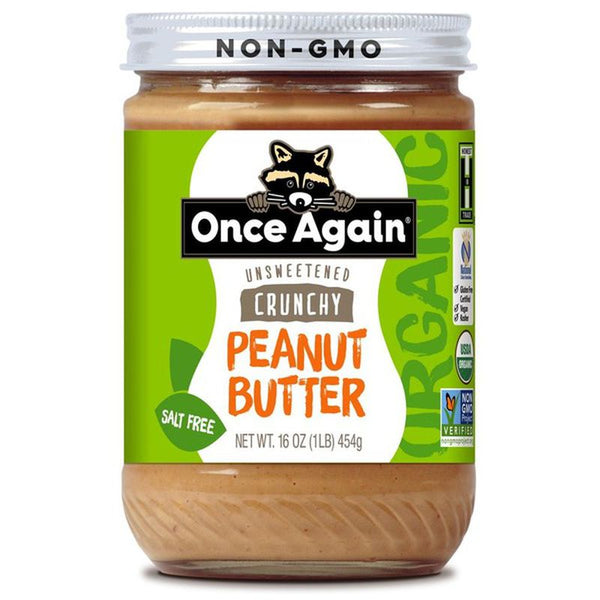 Once Again, Organic Peanut Butter Crunchy No Salt 16 oz
