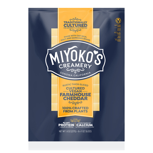Miyoko's Creamery, Cultured Vegan Farmhouse Cheddar Slices 8oz (Chill) Best By 5Nov2020