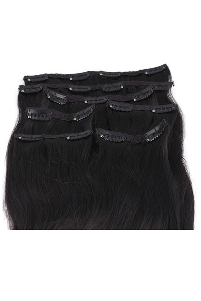 "16"" Clip In Hair Extensions: No 1 Jet Black - Celebrity Strands  - 3"