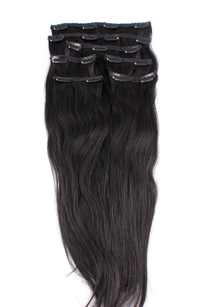 "16"" Clip In Hair Extensions: No 1 Jet Black - Celebrity Strands  - 2"