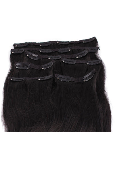"18"" Clip In Hair Extensions: No 1B Off Black - Celebrity Strands  - 3"