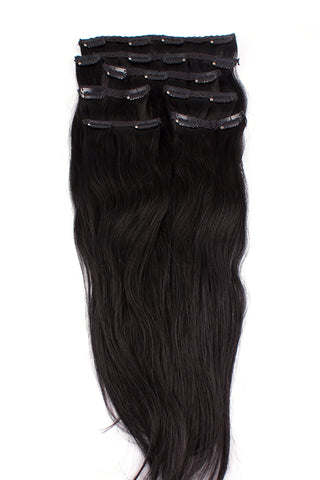 "16"" Clip In Hair Extensions: No 1B Off Black - Celebrity Strands  - 2"