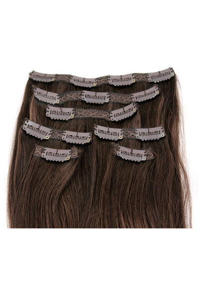 "18"" Clip In Hair Extensions: No 3 Dark Brown - Celebrity Strands  - 3"