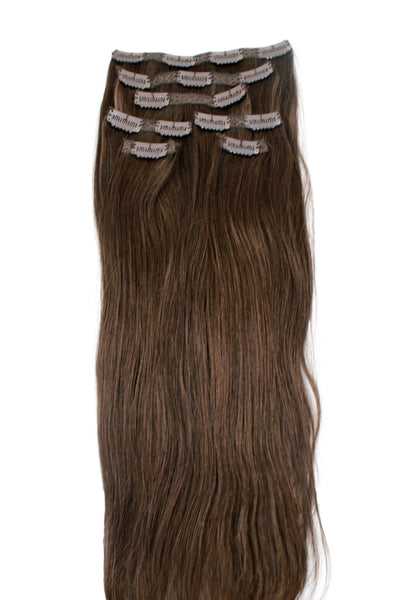 "18"" Clip In Hair Extensions: No 3 Dark Brown - Celebrity Strands  - 2"