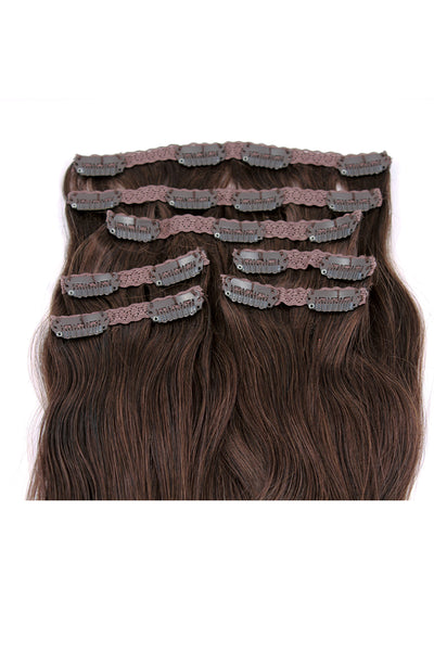 "21"" Clip In Hair Extensions: No 4 Medium Brown - Celebrity Strands  - 3"