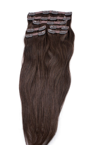 "21"" Clip In Hair Extensions: No 4 Medium Brown - Celebrity Strands  - 2"