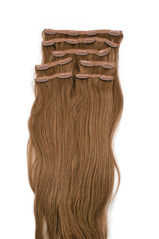 "16"" Clip In Hair Extensions: No 5 Light Ash Brown - Celebrity Strands  - 2"