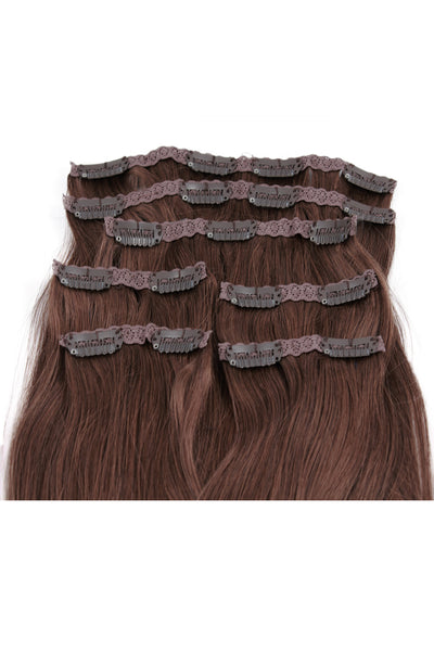 "16"" Clip In Hair Extensions: No 6 Chestnut Brown - Celebrity Strands  - 3"