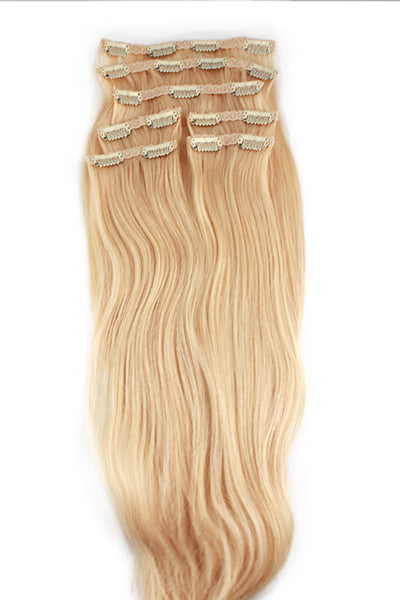 "16"" Clip In Hair Extensions: No 613 Monroe Blonde - Celebrity Strands  - 2"