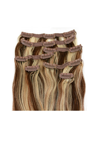 "18"" Clip In Hair Extensions: No P4-613 Dark Brown/ Monroe Blonde - Celebrity Strands  - 3"