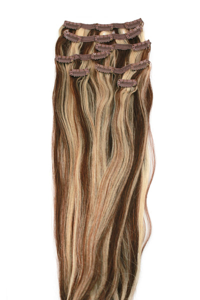 "21"" Clip In Hair Extensions: No P4-613 Dark Brown/ Monroe Blonde - Celebrity Strands  - 2"