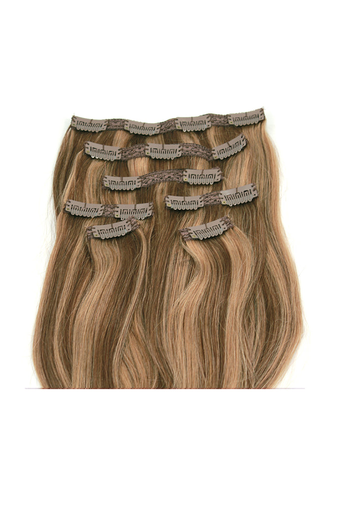 16 Chestnut Brown And Blonde Highlighted Clip In Hair Extensions