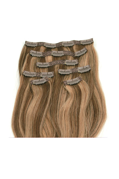 "16"" Clip In Hair Extensions: No. P6-27 Chestnut Brown/ Blonde - Celebrity Strands  - 3"