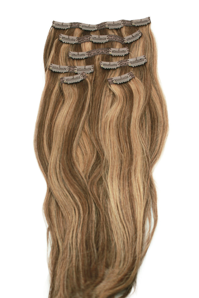18 Chestnut Brown And Blonde Highlighted Clip In Hair Extensions