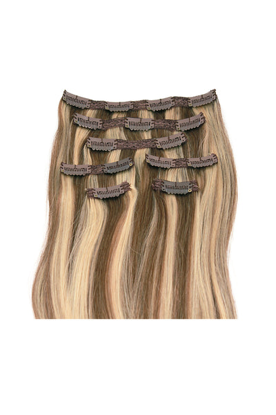 "18"" Clip In Hair Extensions: No P8-24 Light Brown/ Golden Blonde - Celebrity Strands  - 3"