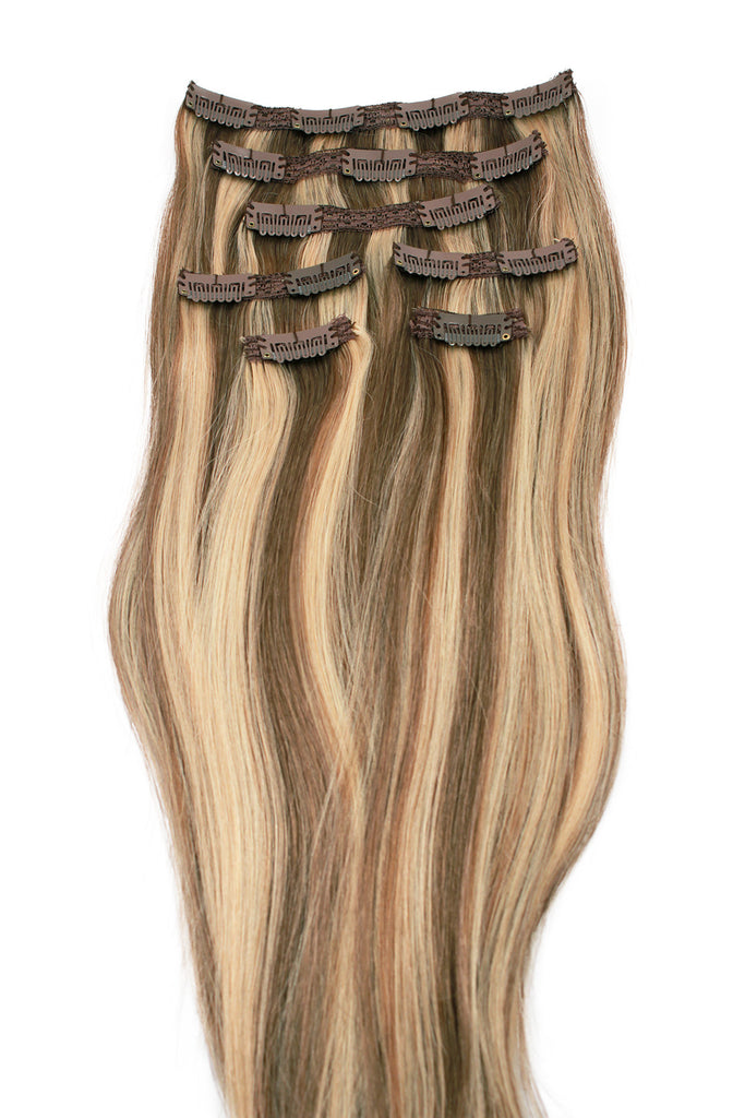 16 Light Brown And Golden Blonde Highlighted Clip In Hair
