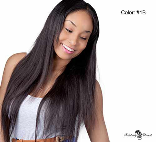 "[SharingDiscount] 21"" Clip In Remy Hair Extensions: Off Black No. 1B - Celebrity Strands  - 2"