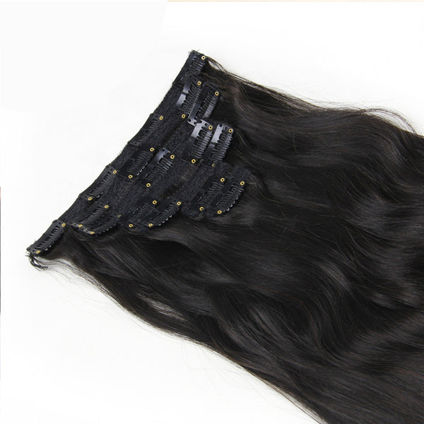 "21"" Clip In Remy Hair Extensions: Off Black No. 1B - Celebrity Strands  - 3"