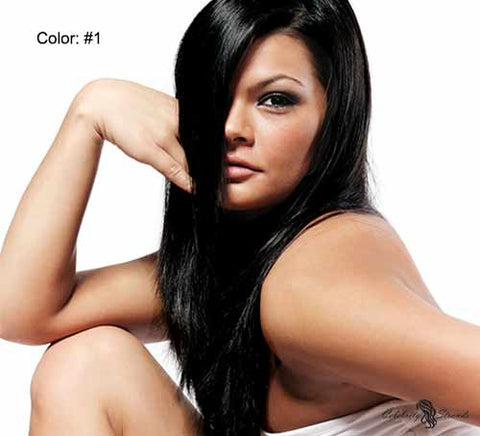 "24"" Clip In Remy Hair Extensions: Black Stallion No. 1 - Celebrity Strands  - 2"