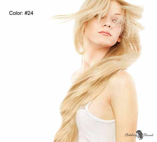 "18"" Clip In Remy Hair Extensions: Golden Blonde No. 24 - Celebrity Strands  - 3"