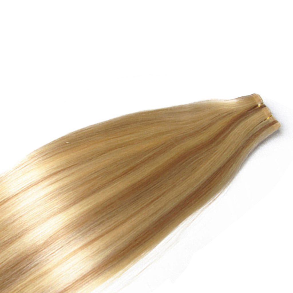 21 Inch Clip On Human Hair Extensions Color P27613 Light Blonde
