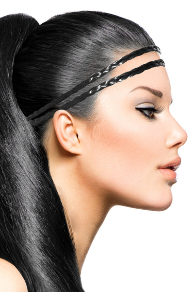 Double Braid Band: Black - Celebrity Strands  - 1