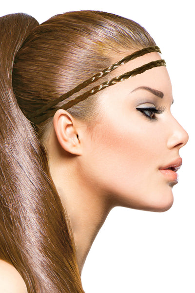 Double Braid Band: Medium Brown - Celebrity Strands  - 1