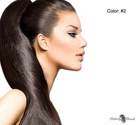 "24"" Clip In Remy Hair Extensions: Darkest Brown No. 2 - Celebrity Strands  - 2"