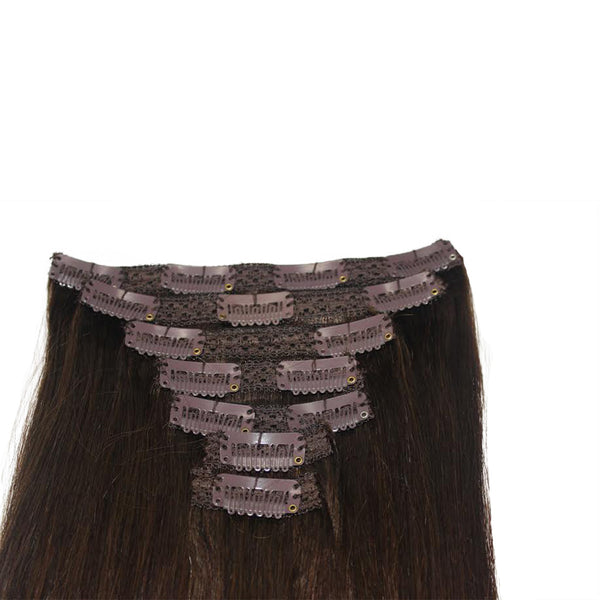 "16"" Clip In Remy Hair Extensions: Darkest Brown No. 2 - Celebrity Strands  - 5"