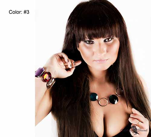 "24"" Clip In Remy Hair Extensions: Dark Brown No. 3 - Celebrity Strands  - 3"