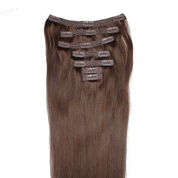 "18"" Clip In Remy Hair Extensions: Dark Brown No. 3 - Celebrity Strands  - 4"