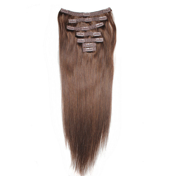 "18"" Clip In Remy Hair Extensions: Medium Brown No. 4 - Celebrity Strands  - 3"