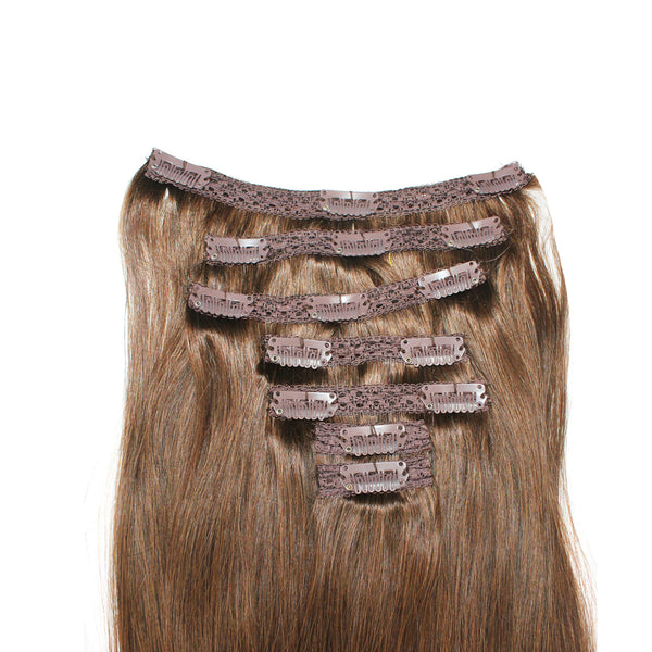 "18"" Clip On Human Hair Extensions: Light Ash Brown No. 5 - Celebrity Strands  - 4"