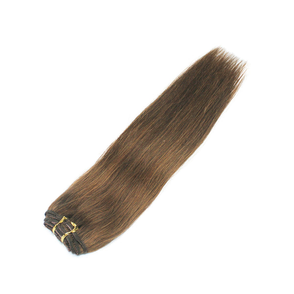 "18"" Clip On Human Hair Extensions: Light Ash Brown No. 5 - Celebrity Strands  - 5"