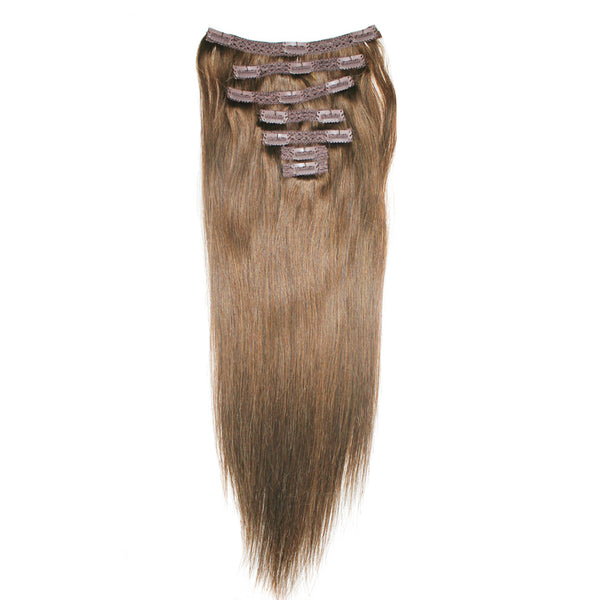 "18"" Clip On Human Hair Extensions: Light Ash Brown No. 5 - Celebrity Strands  - 6"